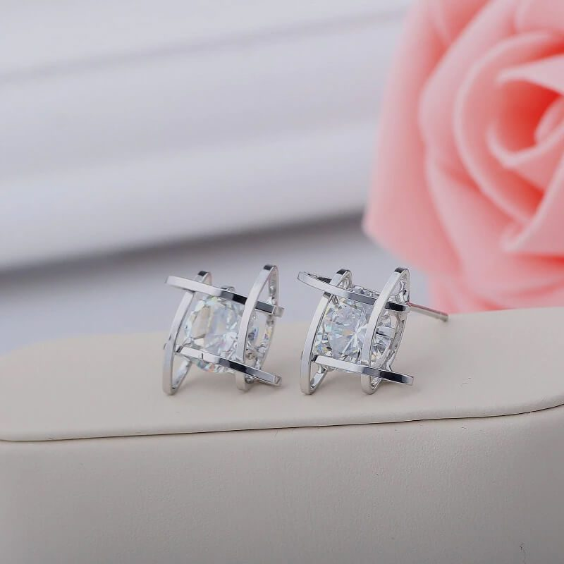 uhani srebrni za ženske s kristalom novi