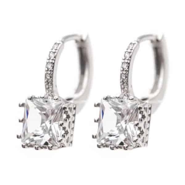 uhani srebrni za ženske modni s kristalom