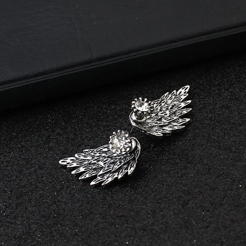 Uhani za ženske s kristalom in angelskim krilom - Srebrni in temno srebrni 5