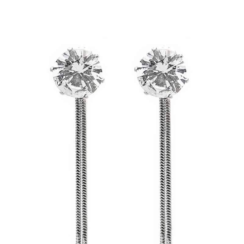 uhani viseči z diamantom srebrne barve