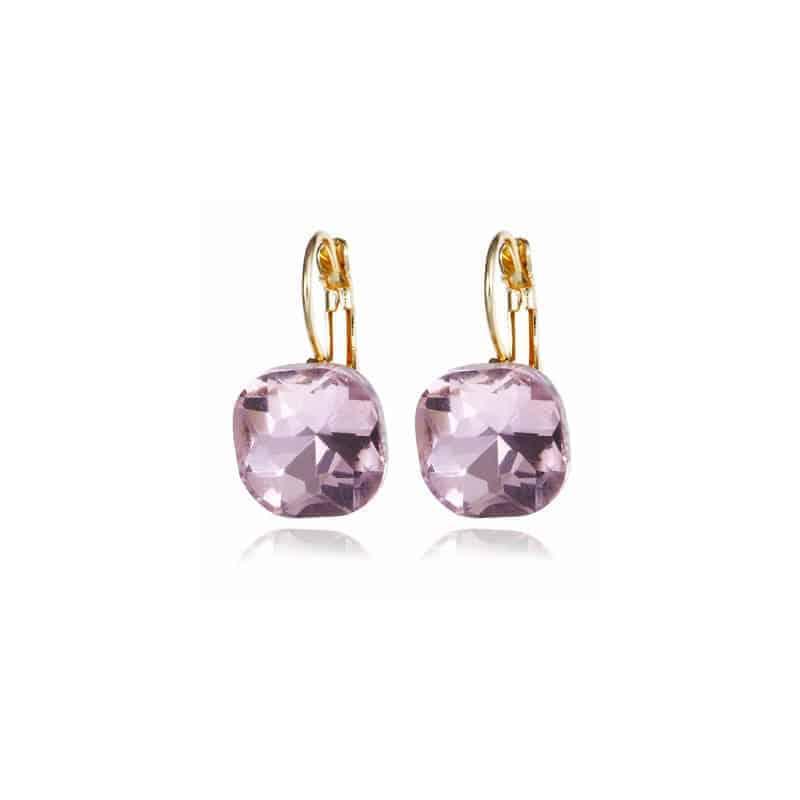 uhani za ženske s kristalom pinky barva
