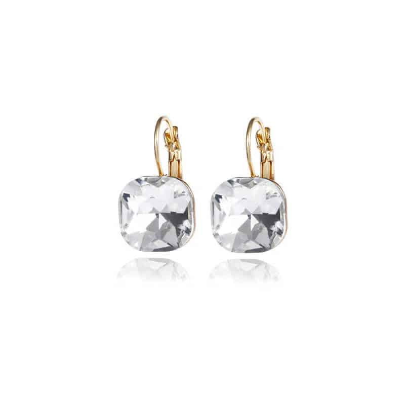 uhani za ženske s kristalom srebrna barva