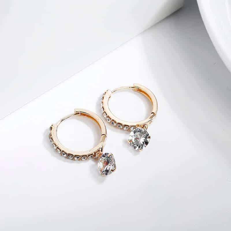 Uhani s kristali in diamanti - Srebrni in zlati 5