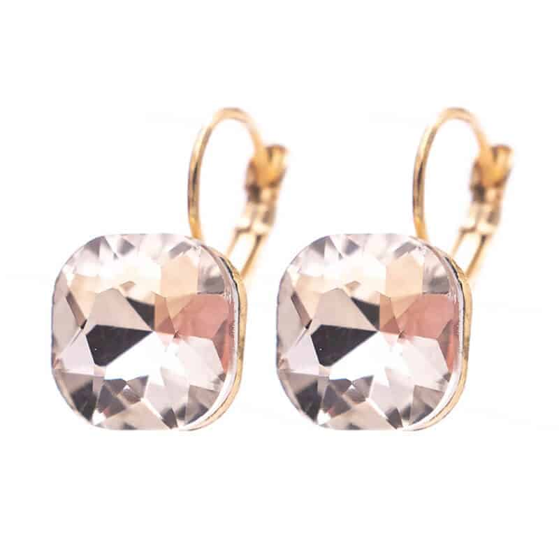 uhani zlati s kristalom srebrnim modni