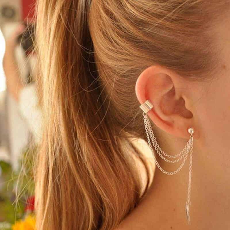 Viseči ženski uhani v srebrni barvi - S prelepim listom na koncu 2