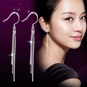 viseči srebrni uhani za ženske