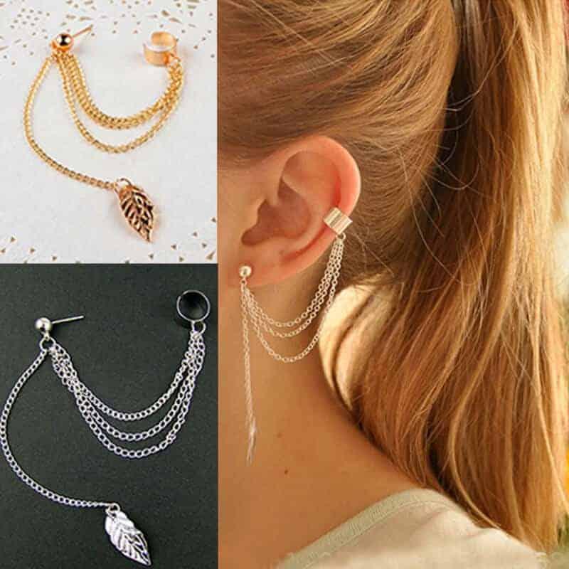 Viseči ženski uhani v srebrni barvi - S prelepim listom na koncu 1