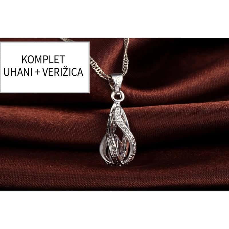 Uhani in verižica v obliki prelepih kristalnih solzic - KOMPLET 3
