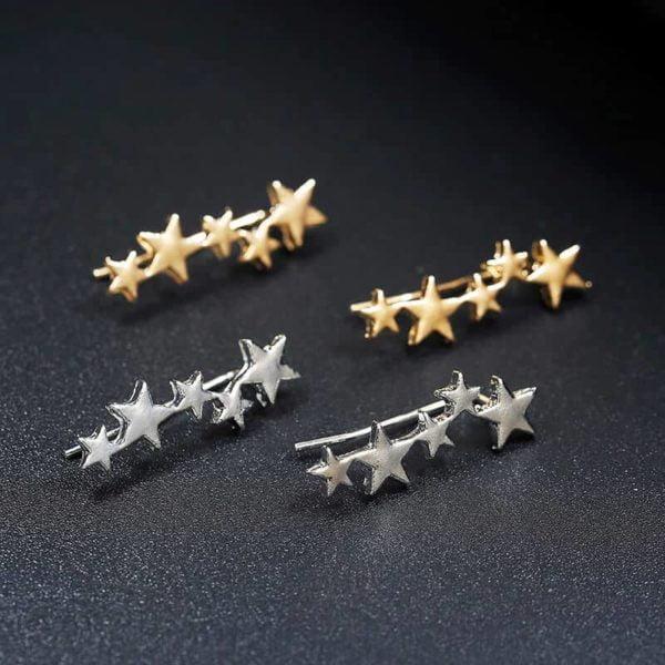 zlati in srebrni uhani za ženske zvezdice