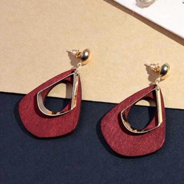 Leseni uhani vintage rdeče barve