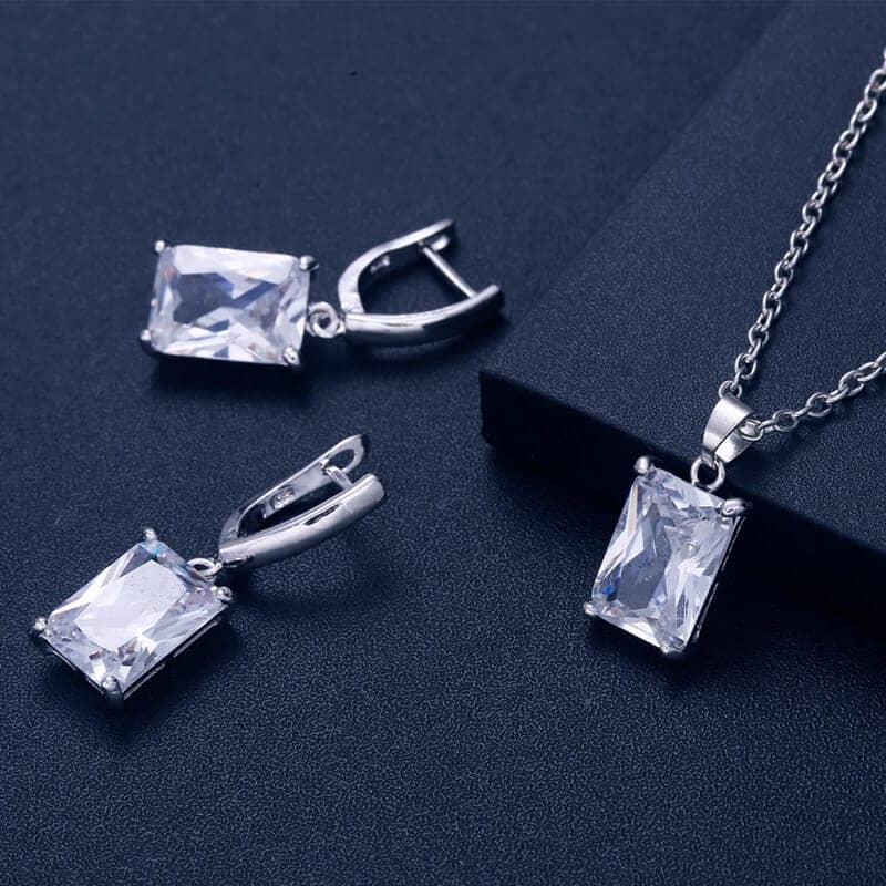 Srebrni uhani s kristali in verižico s kristalom - Komplet - Srebrna barva 2