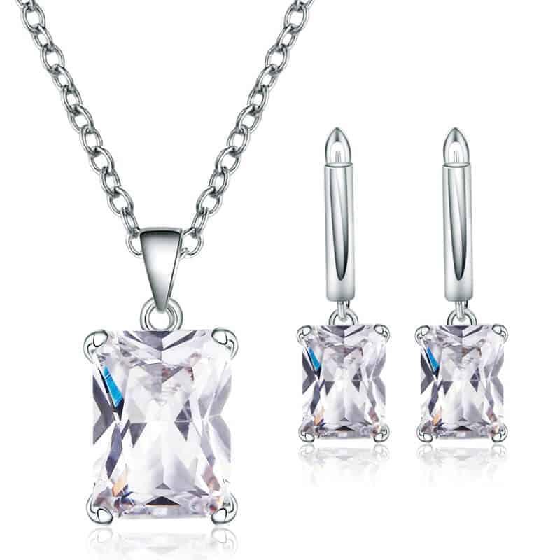 Srebrni uhani s kristali in verižico s kristalom - Komplet - Srebrna barva 1