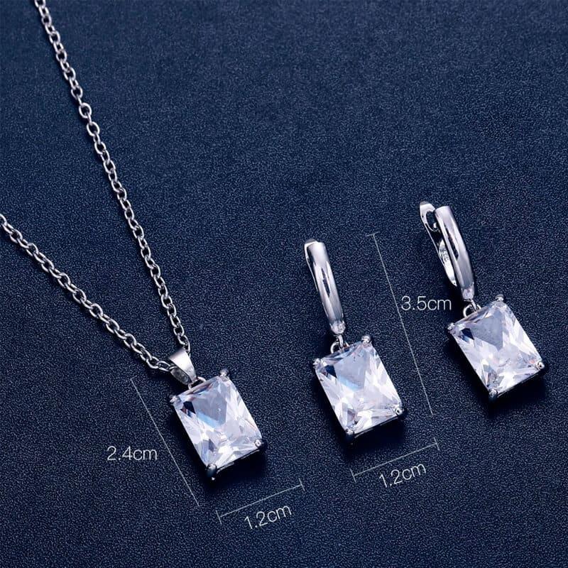 Srebrni uhani s kristali in verižico s kristalom - Komplet - Srebrna barva 3