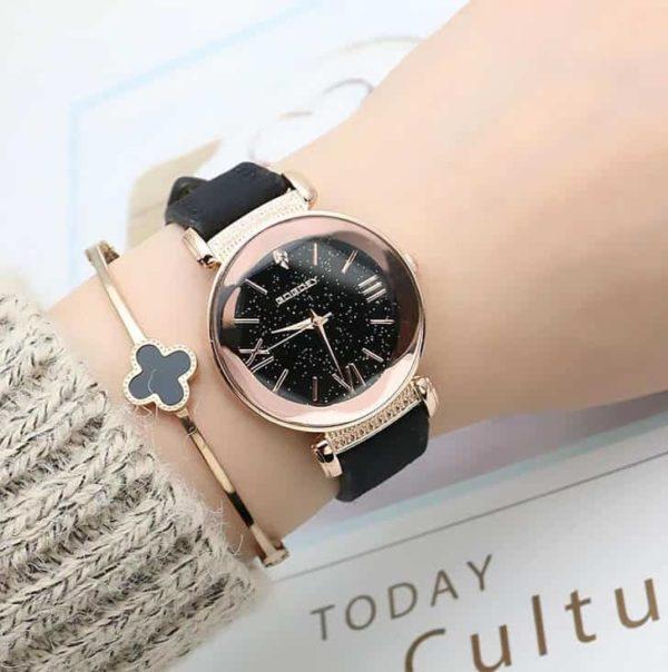 modna ženska ročna ura črne barve
