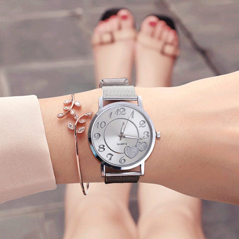 srebrna ura za ženske ročna