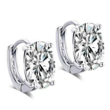 srebrni uhani za ženske z velikim kristalom