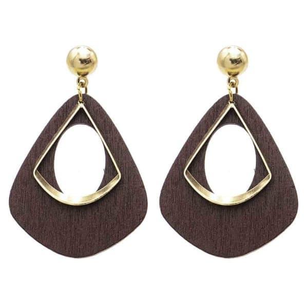 zlati viseči uhani iz lesa