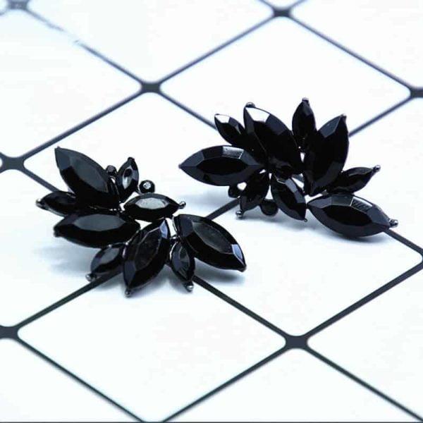 črni kristalni uhani z diamanti modni ženski