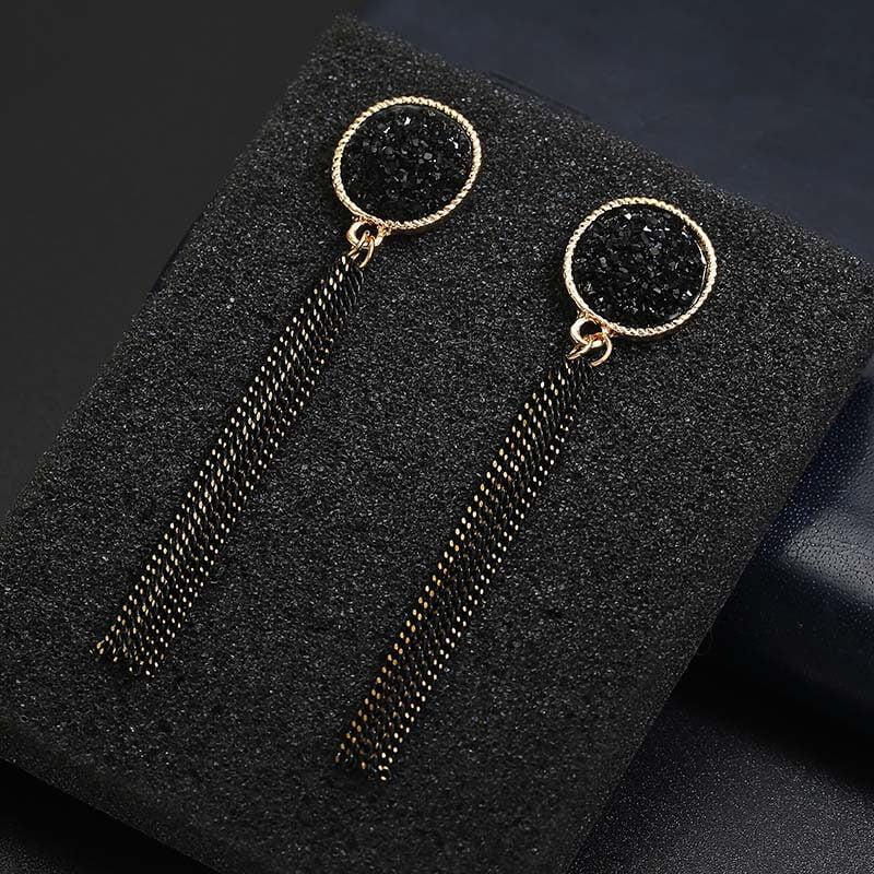 Viseči uhani z mini verigami - Svetleča črna barva 4