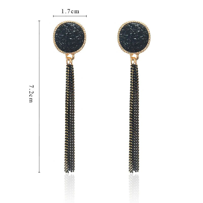 dolgi viseči uhani velikost črna barva