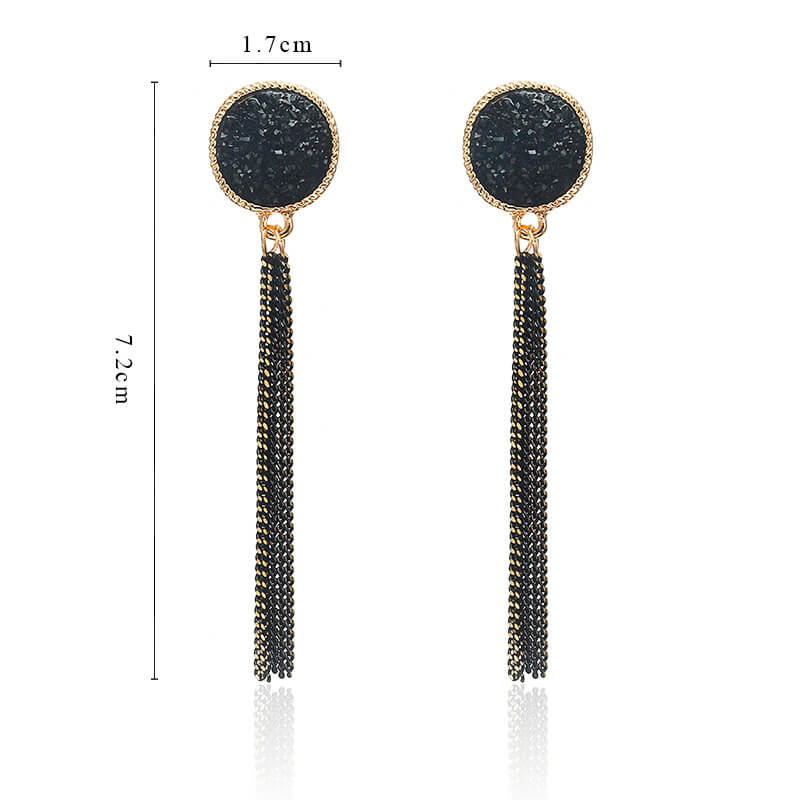 Viseči uhani z mini verigami - Svetleča črna barva 5