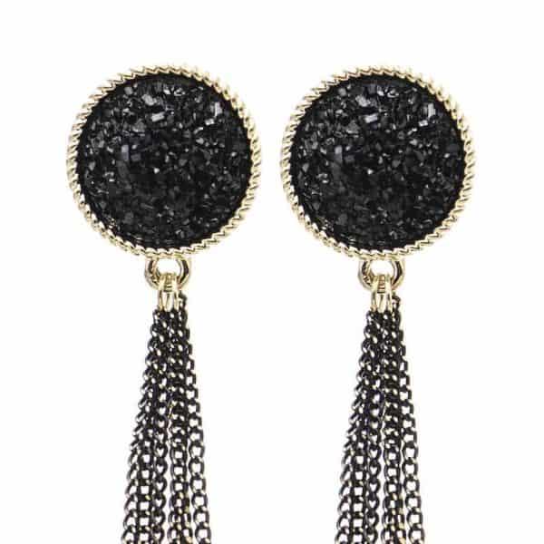 Viseči uhani z mini verigami - Svetleča črna barva 1