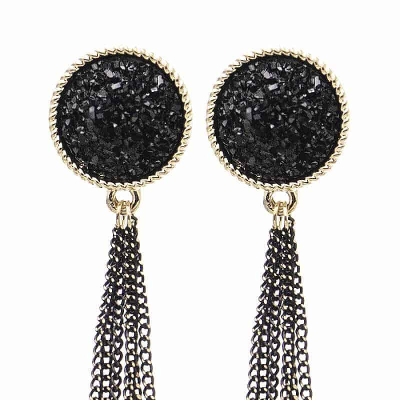 Viseči uhani z mini verigami - Svetleča črna barva 7