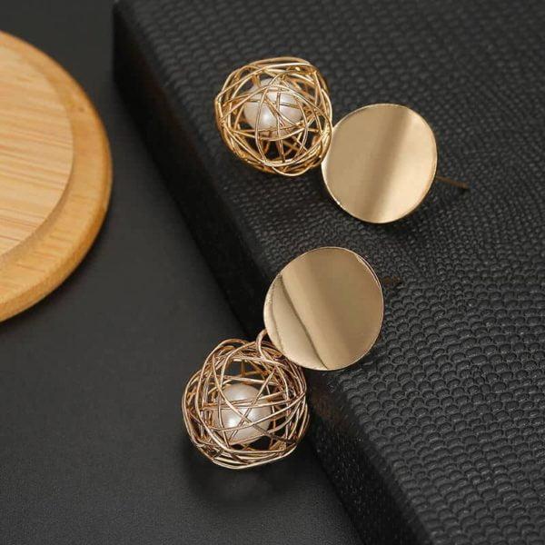 elegantni viseči uhani z biserom in krogom za ženske