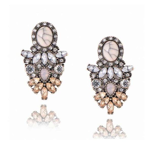 kristalni uhani z diamanti v obliki lista modni elegantni za posebne priložnosti