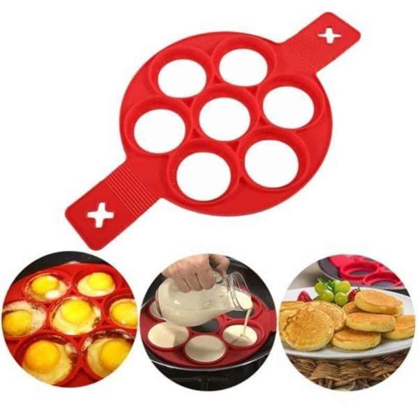 model za palačinke v obliki krogov rdeče barve silikonski