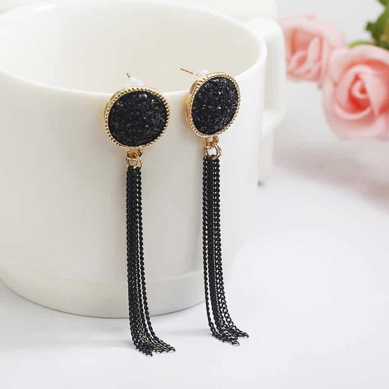 Viseči uhani z mini verigami - Svetleča črna barva 2