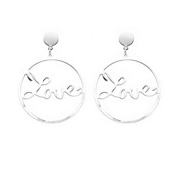 Srebrni viseči uhani LOVE - Elegantno okrogli z močnim sporočilom 1