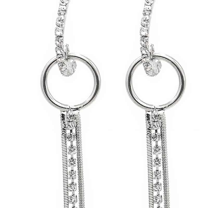 srebrni uhani viseči z diamanti daljši