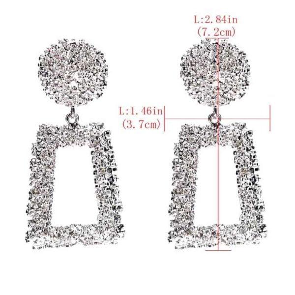 srebrni viseči uhani trapezne oblike velikost