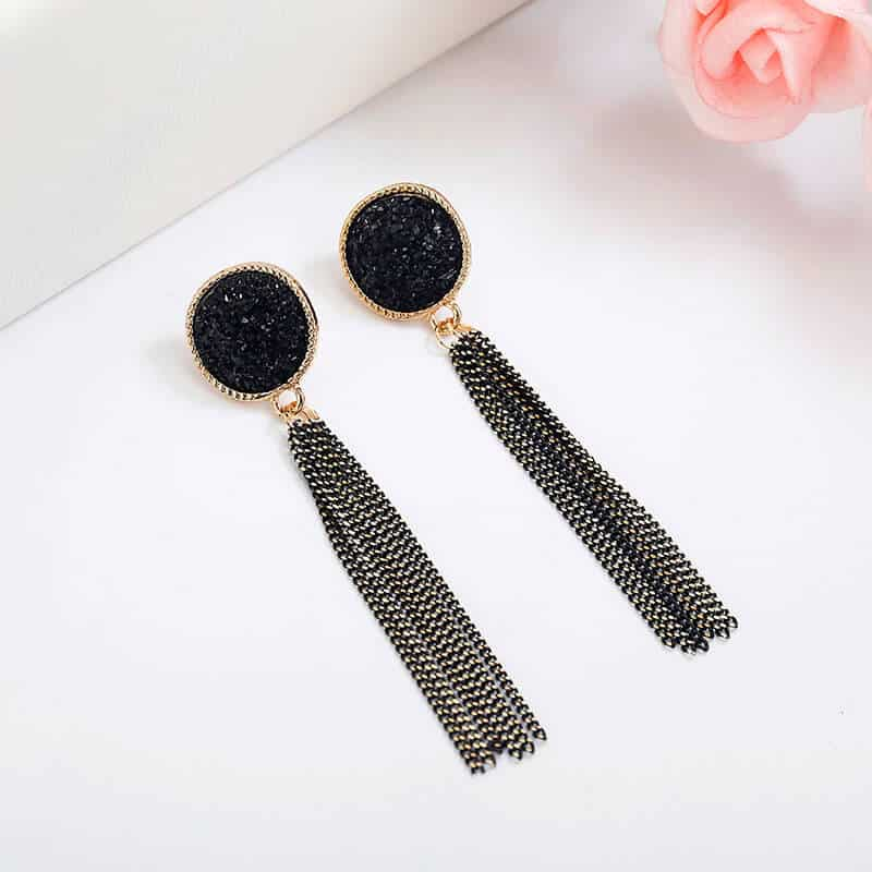 Viseči uhani z mini verigami - Svetleča črna barva 3