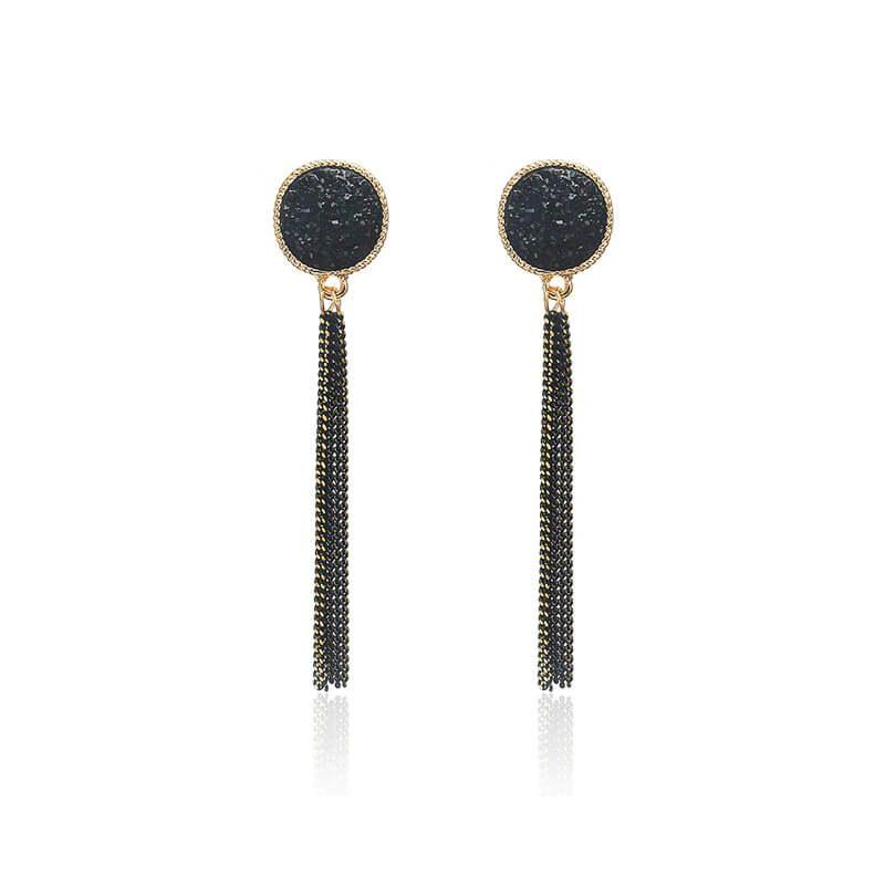 uhani viseči v črni barvi modni in elegantni