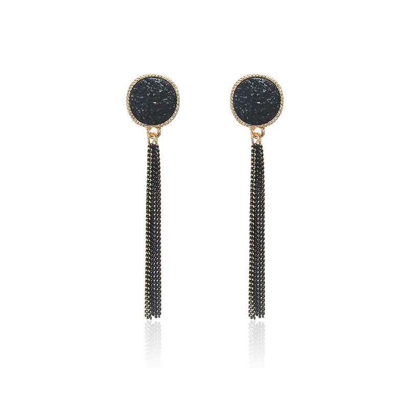Viseči uhani z mini verigami - Svetleča črna barva 6