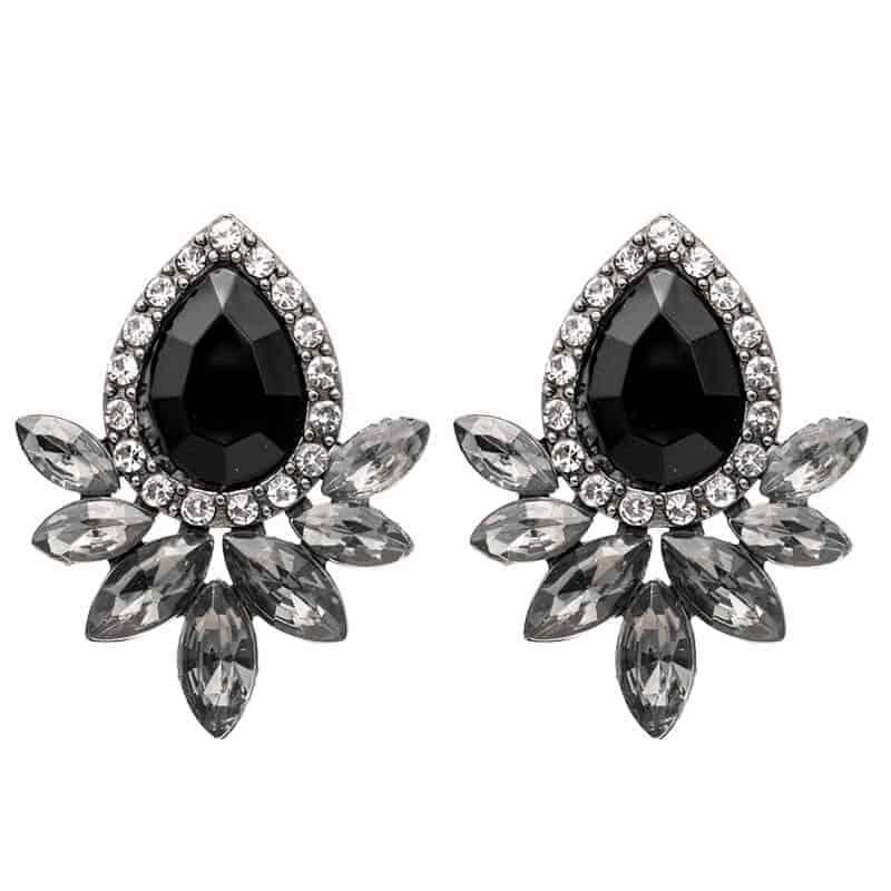 Uhani z diamanti in kristali - Oblika solze - Črna barva 1