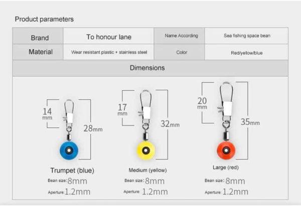 velikosti sistema za lovljenje rib na plovec