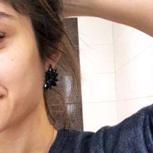 viseči kristalni uhani z črnimi diamanti