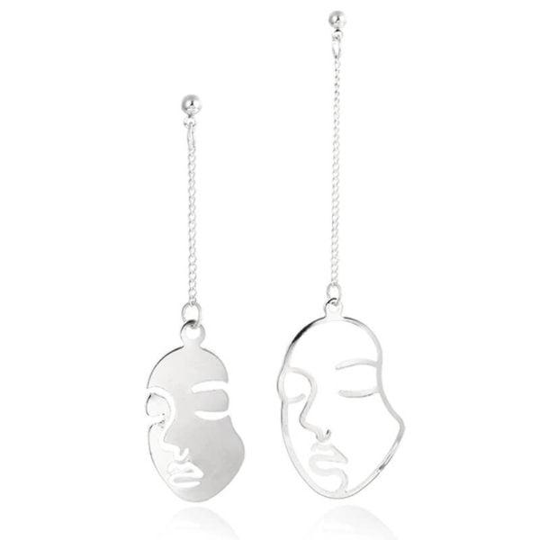 viseči srebrni uhani modni