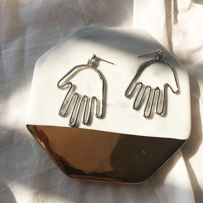 Viseči srebrni uhani v obliki roke - Srebrna barva 3