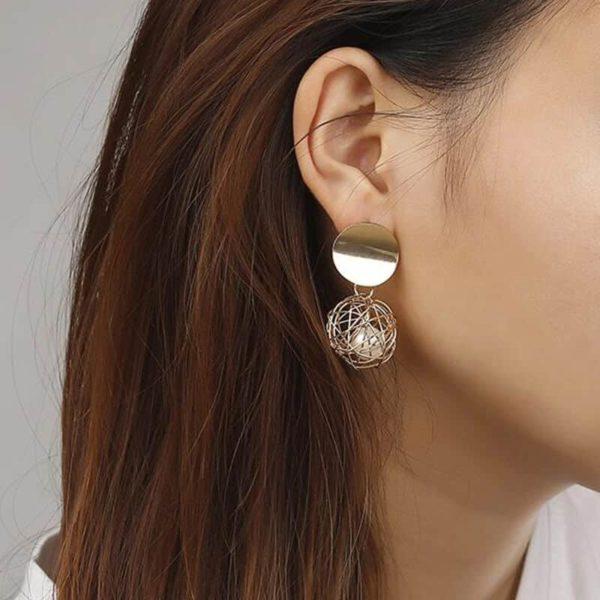 viseči uhani z biserom ženski elegantni