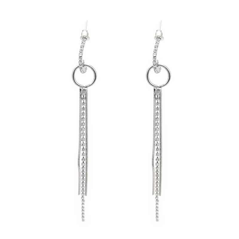 viseči uhani srebrni veliki z bleščečimi diamanti modni