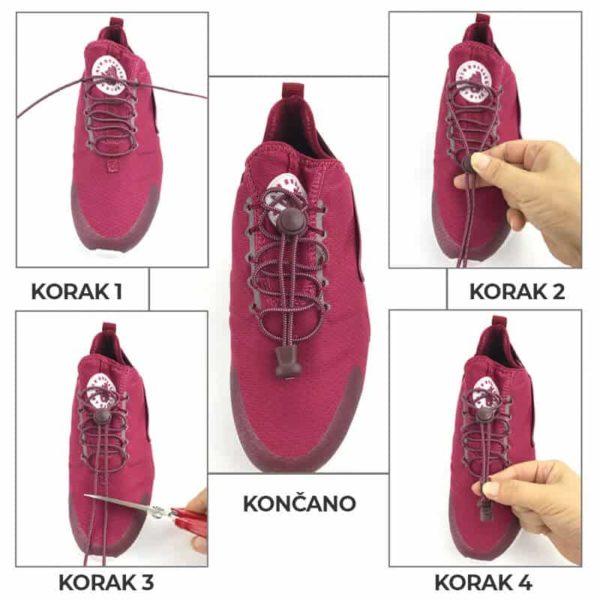 elastične vezalke navodila kako zavezati obutev