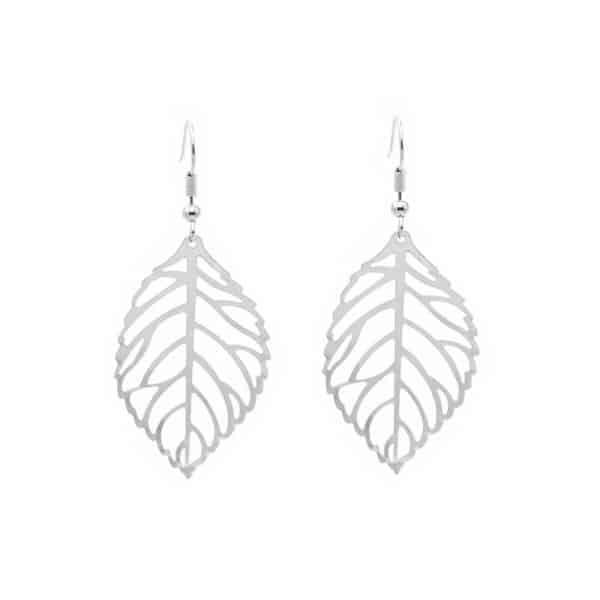 srebrni uhani listi viseči za ženske