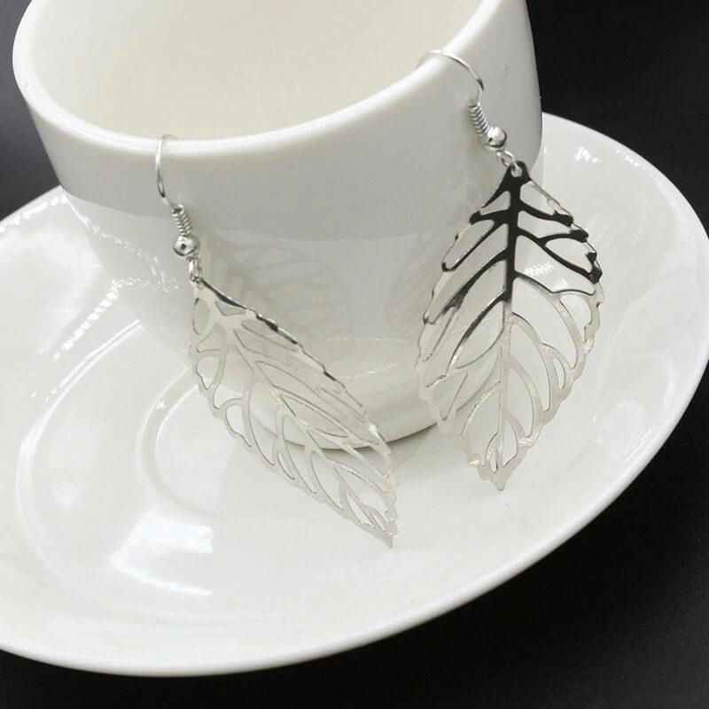 uhani srebrni viseči listje