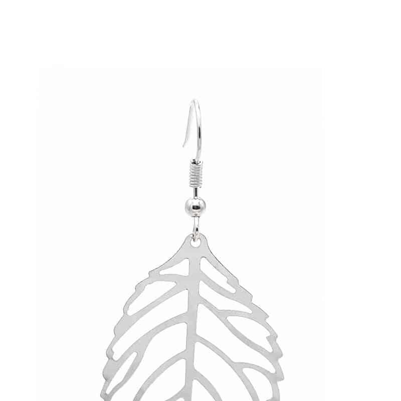 viseči srebrni uhani list