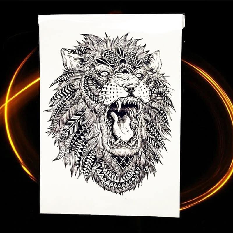 začasni tatto v obliki leva