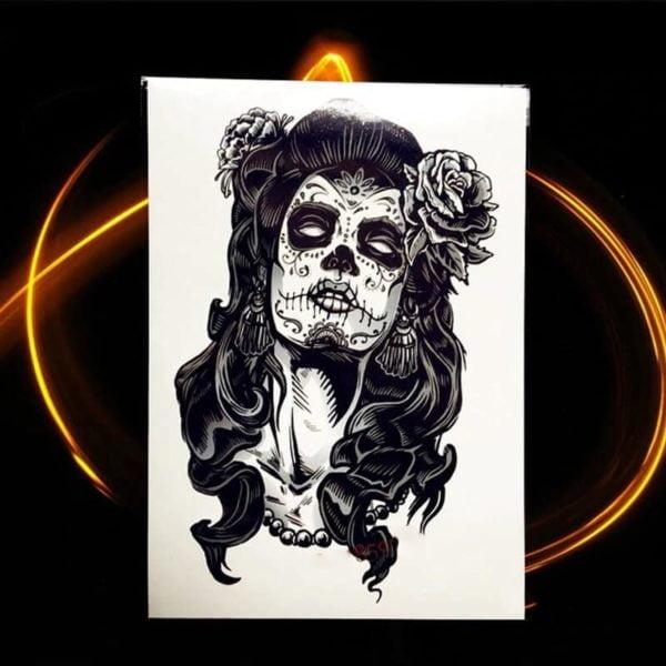 začasni tattoo ženska črne barve z rožami